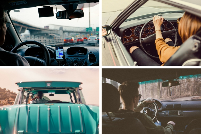 photo collage of a diverse group of drivers in cars and trucks