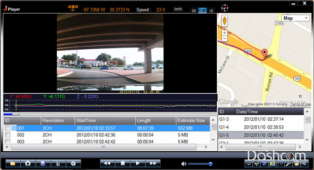 Dashcam software GPS playback