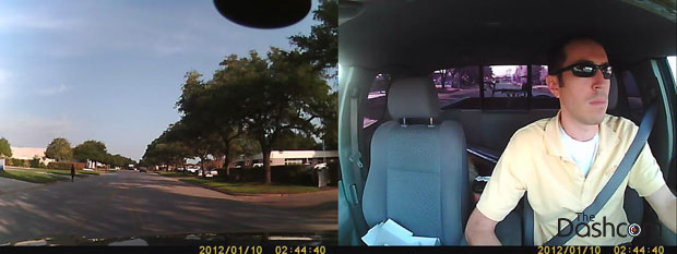 Dual-lens dash cam (with built-in second lens) video still frame example thumbnail