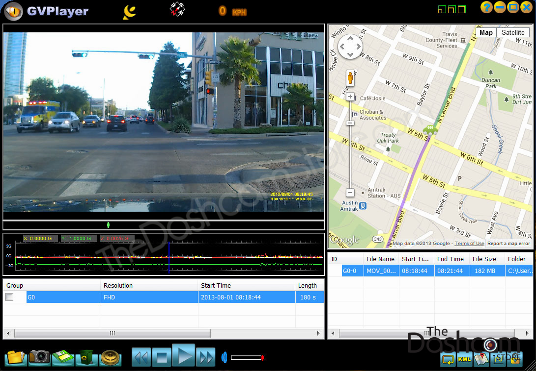 screenshot image of dash cam video playback software with GPS logging