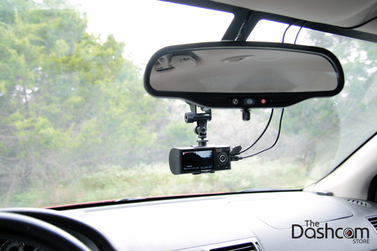 DVR-R300 dashcam installed in car