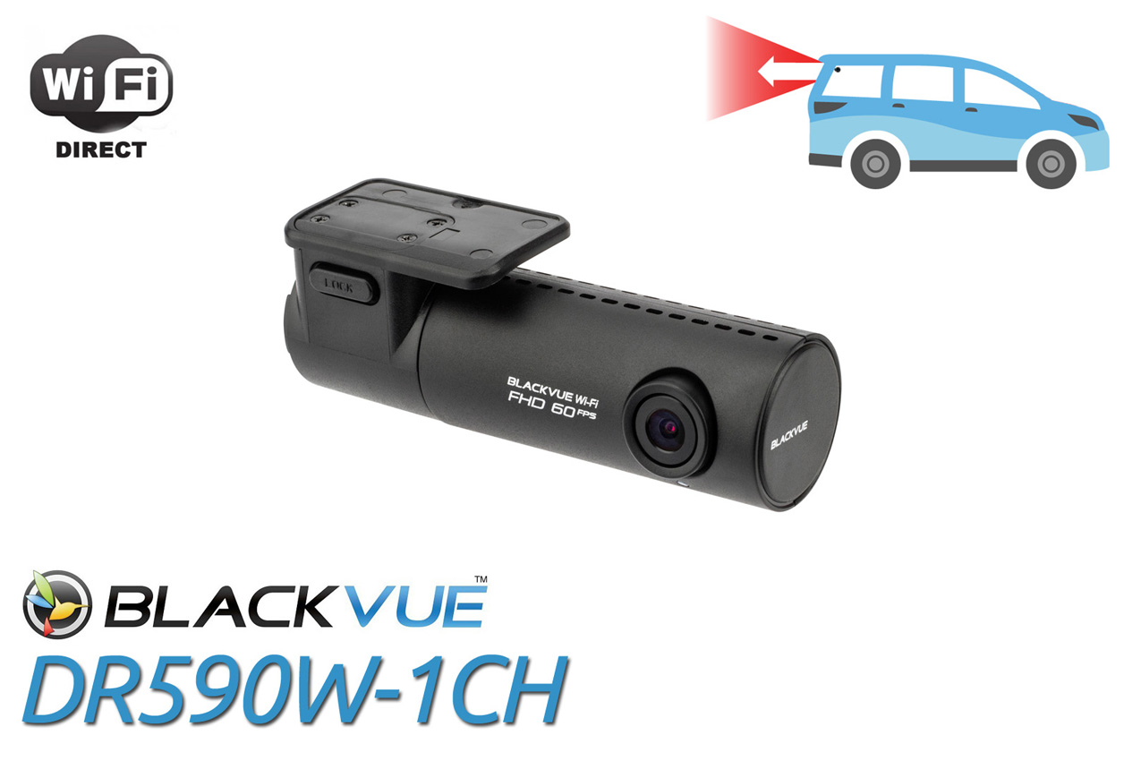 BlackVue DR590W-1CH 1080p Dual-Lens Dashcam for Front and Rear with WiFi