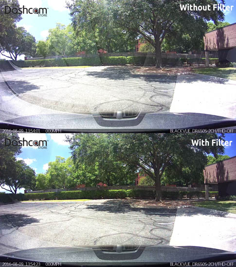 TheDashcamStore.com Dash Cam Polarizing Filter Comparison Photo 2