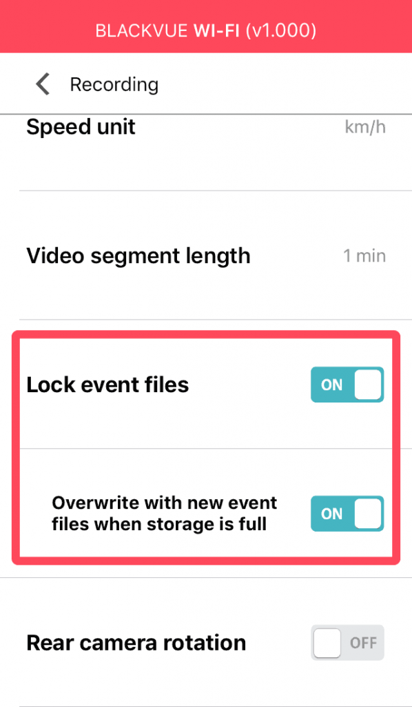 blackvue dashcam app menu event file protection