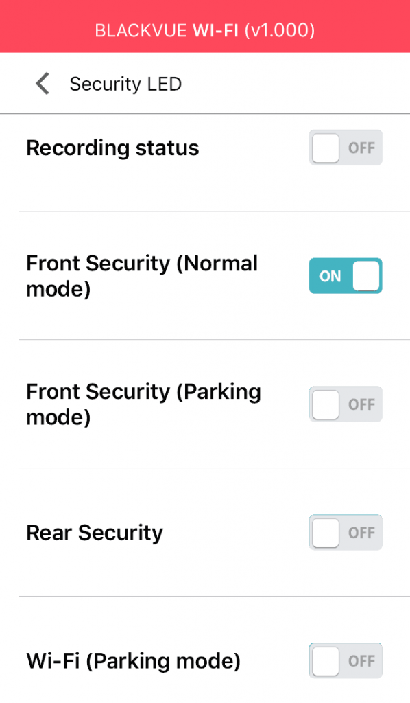 blackvue dashcam app menu led settings off
