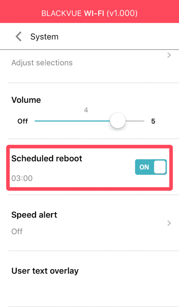 blackvue dashcam app menu scheduled reboot
