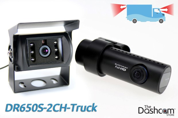 BlackVue DR650S-2CH-Truck dash cam with waterproof exterior rear lens for front and rear video recording