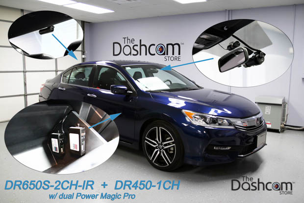 BlackVue DR650S-2CH-IR and DR450-1CH '3CH Uber/Lyft Combo' w/ 2 Power Magic Pros Installed in a Honda Accord Sport