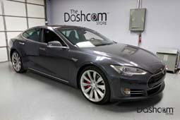 photo of a BlackVue DR650S-2CH front and rear facing dashcam installed in a Tesla Model S