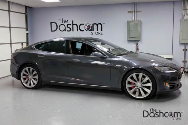 BlackVue DR650S-2CH dash cam installed in Tesla Model S