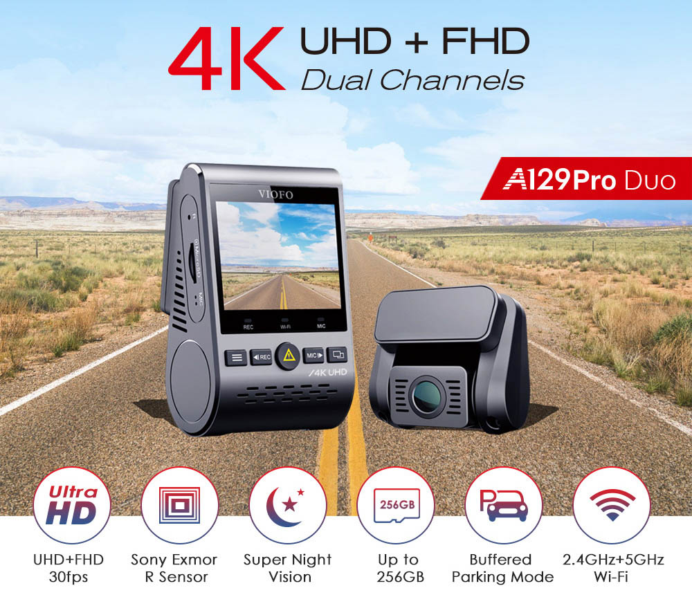 VIOFO A129 PRO DUO | 4K Front and Rear Dash Cam Solution