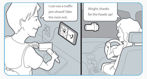 Talk with people in the car from your smartphone