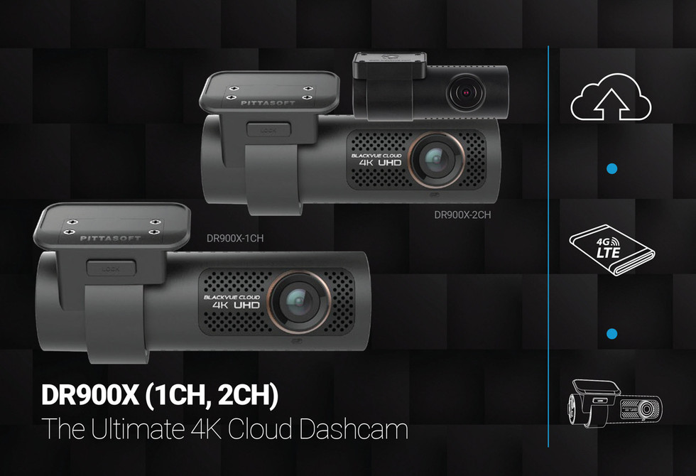 BlackVue DR900X-1CH 4K Dash Cam Promo Graphic | The Ultimate 1 and 2CH Cloud Dashcams