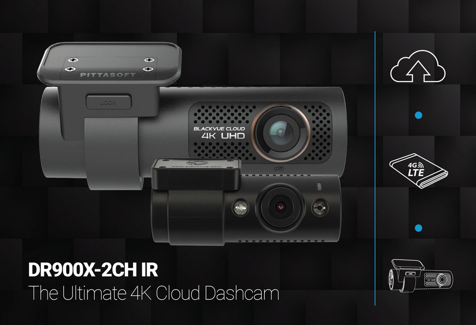 BlackVue DR900X-2CH-IR 4K Dash Cam Promo Graphic | The Ultimate Front & Interior Cloud Dashcam