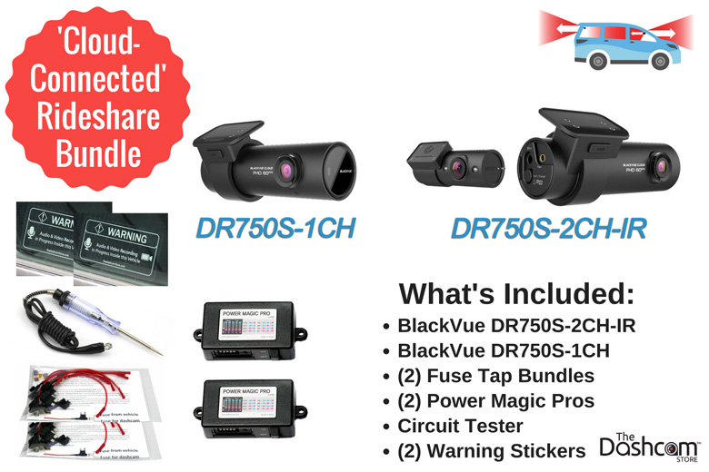 image: The best dashcam bundle for Uber or Lyft rideshare drivers | Thinkware F100 Bundle front and interior dashcam