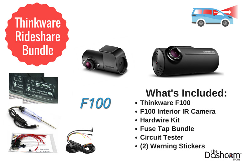 The best dashcam bundle for Uber or Lyft rideshare drivers | Thinkware F100 Bundle front and interior dashcam