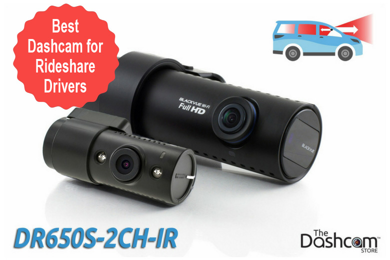 image: The best dashcam for Ride | Austin rideshare drivers is the BlackVue DR650S-2CH-IR front and interior dashcam