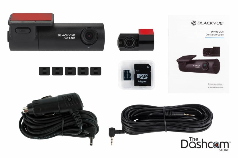image of all items in the box of the new 2017 BlackVue DR490-2ch Full HD 1080p dashcam