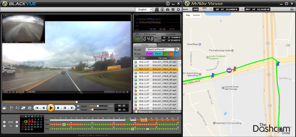 dashcam with GPS position and speed software map playback example