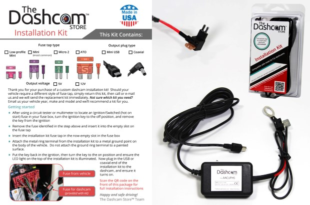 Dashcam installation kit 12v fuse tap to 5v USB plug with instructions