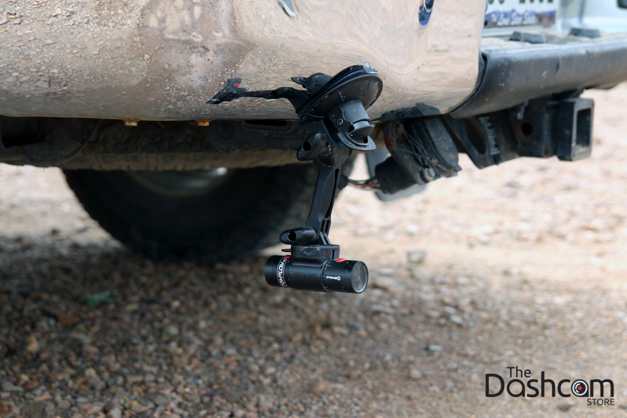 Prime X by Replay XD action cam with optional suction cup mount on Toyota Tacoma 4x4 off road