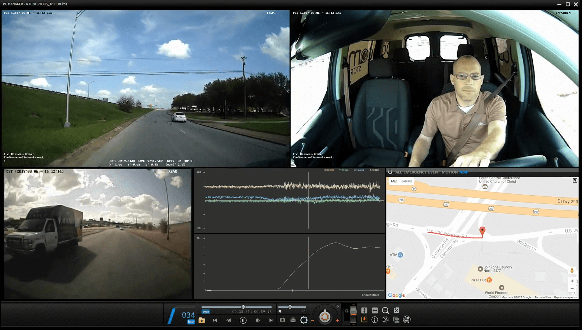 VT-300 Fleet Management Software: Daytime Driving View