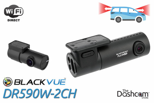BlackVue DR590W-2CH Dual-Lens Dual 1080p HD Dash Cam | For Front and Rear Audio and Video Recording with Local WiFi