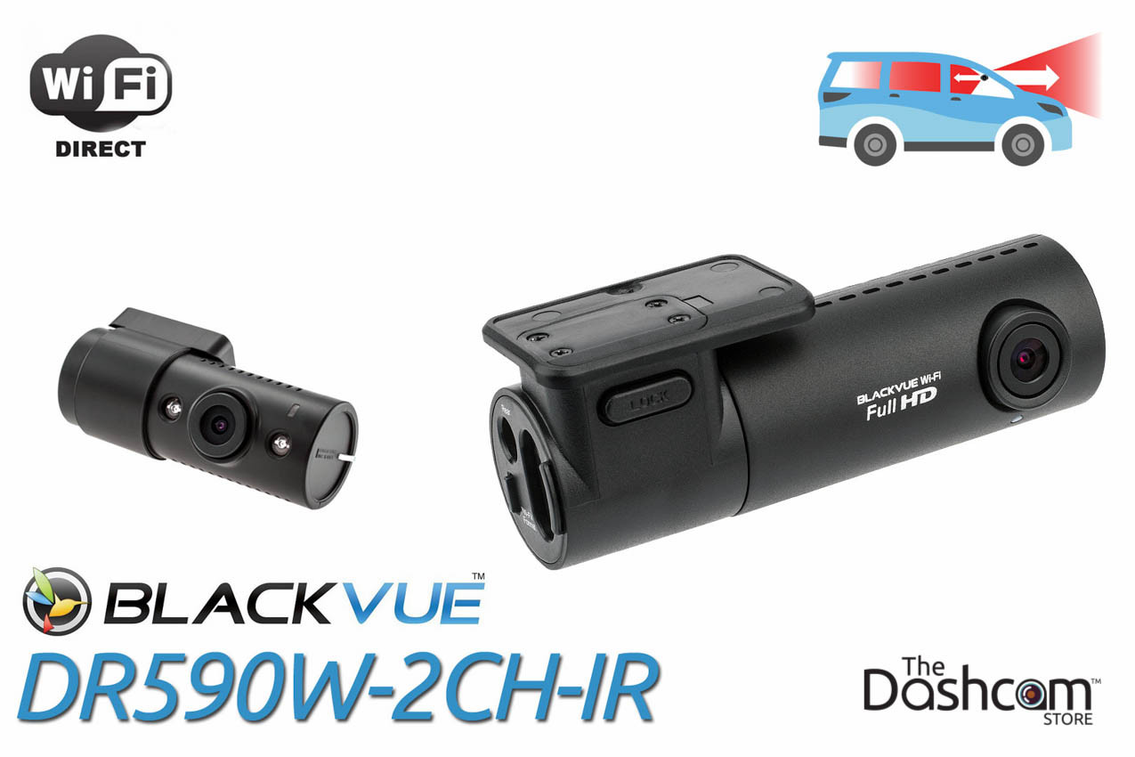 BlackVue DR590W-2CH Dual-Lens Dual 1080p HD Dash Cam | For Front and Interior Audio and Video Recording with Local WiFi