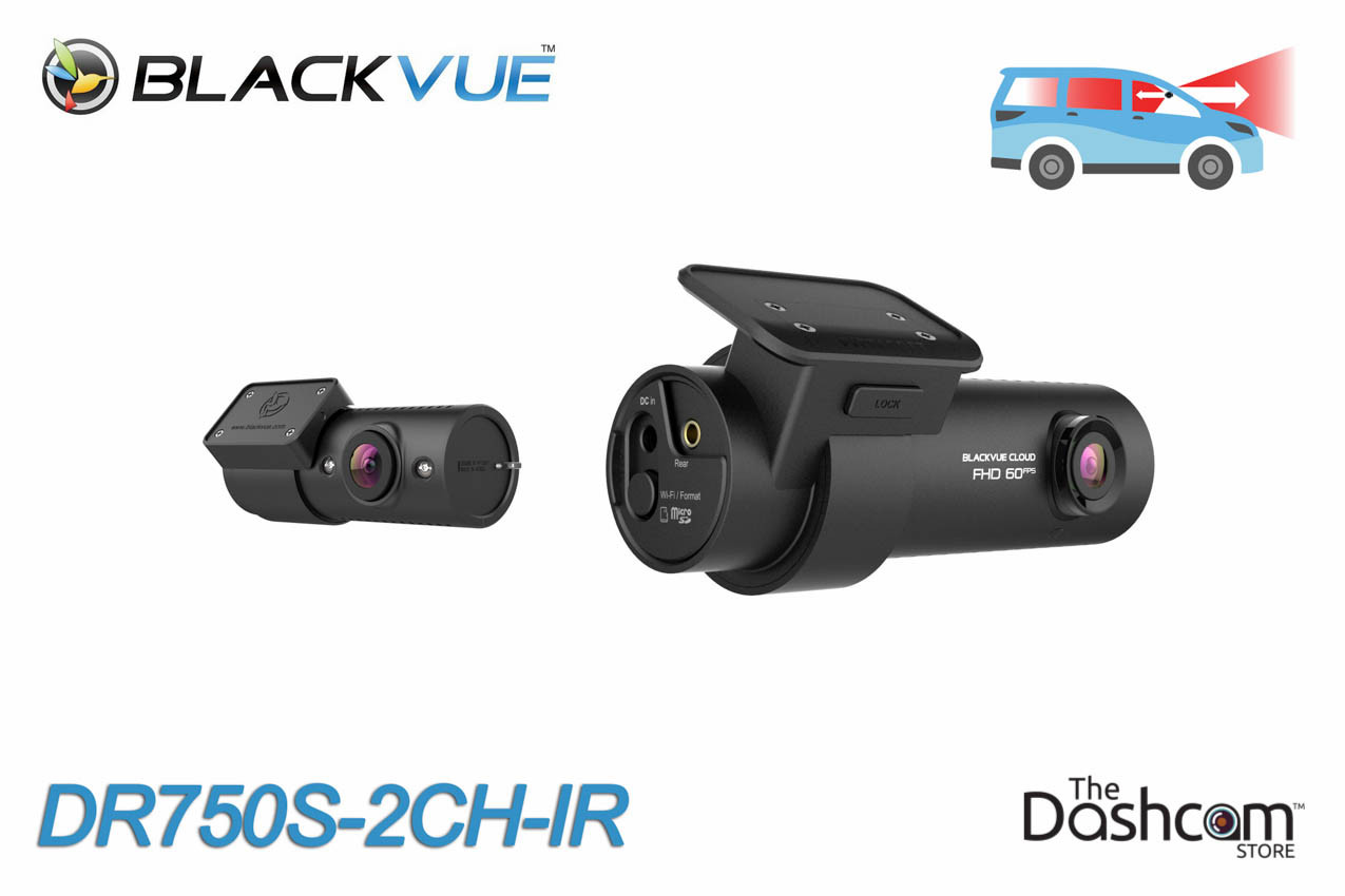 BlackVue DR750S-2CH-IR 1080p Dual-Lens WiFi GPS Dashcam w/ Infrared Interior Lens for Front and Inside